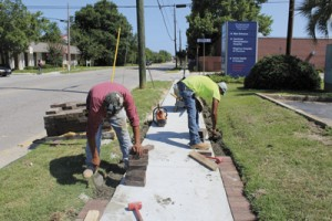 Brick work underway  on new Dargan Street sidewalks