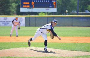 Hunter Parks pitches against Monroe College in the 2021 Eastern District Championship.