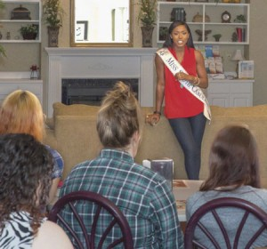 Miss S.C. offers encouragement to women at the Chrysalis Center