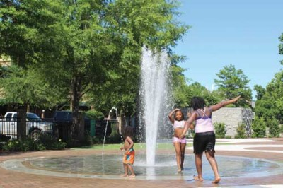 Griffin Plaza fountain offers refreshing relief from heat