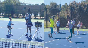 Participants practice their skills during a camp held  Saturday at the Dr. Eddie Floyd Florence Tennis Center.