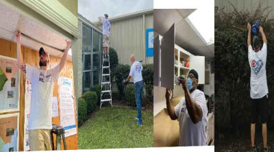 Replacing ceiling tiles at the Florence Area Literacy Council . Pressure washing at the Boys and Girls Club  of the Pee Dee Area.Painting  cabinets  at the  Florence  Area Literacy Council.